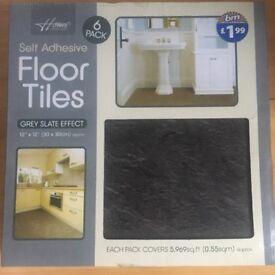 5 packs Grey Slate Effect Vinyl Tiles