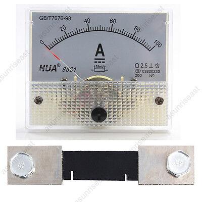 1 Dc 100a Analog Panel Amp Current Meter Current Shunt 85c1 Ammeter Gauge