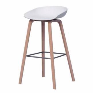 2x Bar stools Omar Designer Bar stools OAK timber white