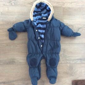 Next all in one snow suit age 3-6 months - as new