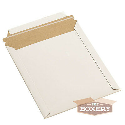100 - 7x9 Rigid Flat Photo Mailers - Self-seal - White From The Boxery