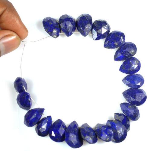 13-16mm Natural Blue Lapis Lazuli Checker Cut Pear Drop Loose Beads Demi Strand