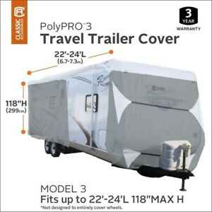 NEW CLASSIC POLYPRO III DELUXE GREY TRAVEL TRAILER COVER 22-24FT