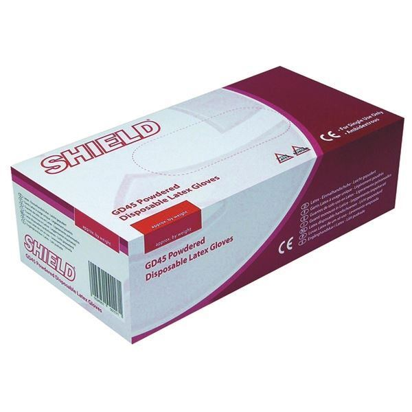 Shield Powdered Natural Medium Latex Gloves (Pack of 100) GD45 [HEA00118]