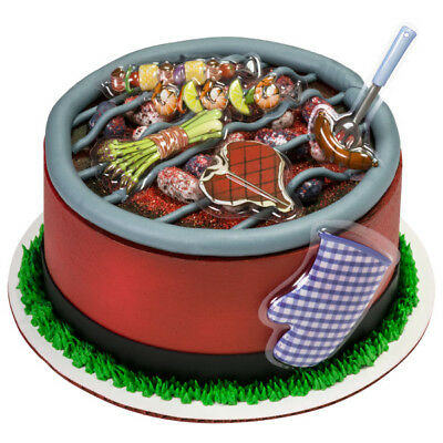 Grilling cake decorations BBQ Fathers Day Dad plastic layons - Bbq Cake