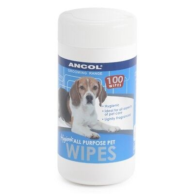 Ancol Dog Wipes All Purpose Hygienic Pet Skin Puppy Coat Clean Grooming 100pcs