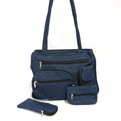 Women's Quilted Denim Handbag w/ Eyeglasses Case & Coin Purse