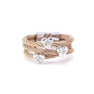 CHARRIOL Malia Rose Gold PVD Steel/Topaz/Silver Ring 02-221-1220-1 Size : 6 3/4