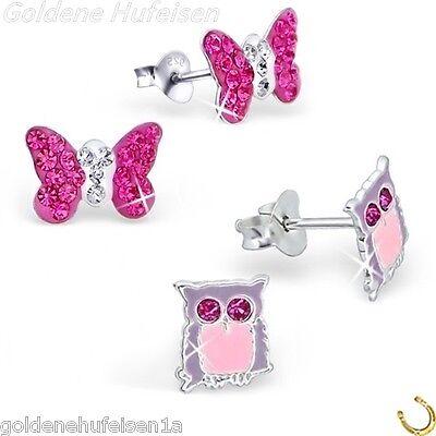 2 PAAR Kristall Eule + Schmetterling Ohrstecker Echt 925 Silber Kinder Ohrringe