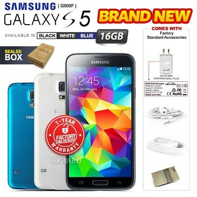 New Factory Unlocked SAMSUNG Galaxy S5 G900F Black White Blue 16GB Android Phone