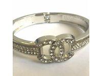 Chanel CC Logo Silver Metal Bracelet
