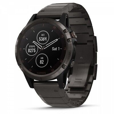 Garmin fenix 5X Plus Watch Sapphire Gray With DLC Titanium Band + US TOPO Maps