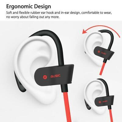 Sweatproof Sport Bluetooth Headset Wireless Headphones Earbuds blue red covid 19 (Blue Earbud Headset coronavirus)