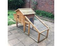 LARGE RABBIT HUTCH, FOOD, BOWLS, STRAW, COLLAR ETC