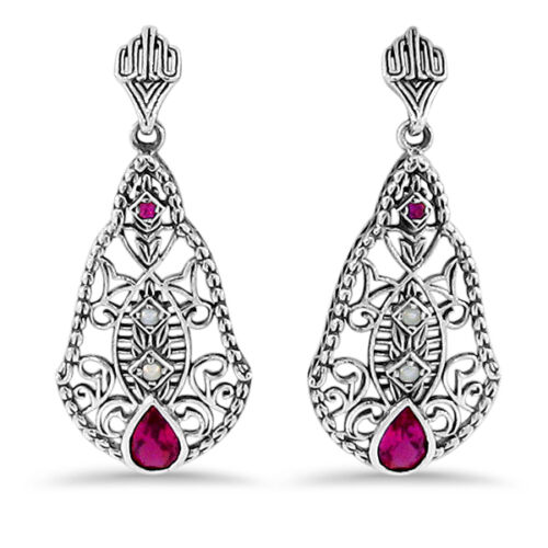 ANTIQUE VICTORIAN DESIGN LAB RUBY AND PEARL 925 SILVER FILIGREE EARRINGS,  #213
