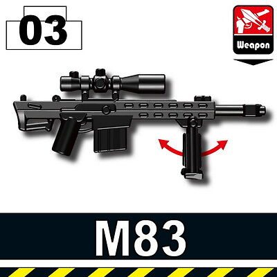 Black G3SG1 with bipod Sniper Rifle for LEGO army military brick minifigures