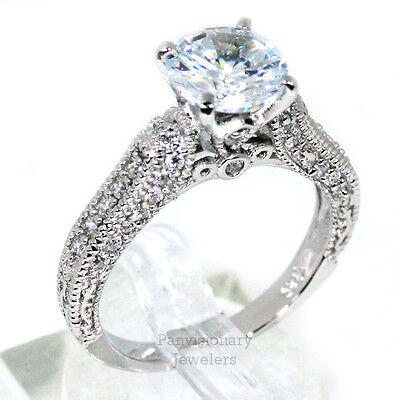 Women's Silver Engagement Ring 925 Sterling Vintage Look 8mm Round CZ Accents  (Vintage Cz Rings)