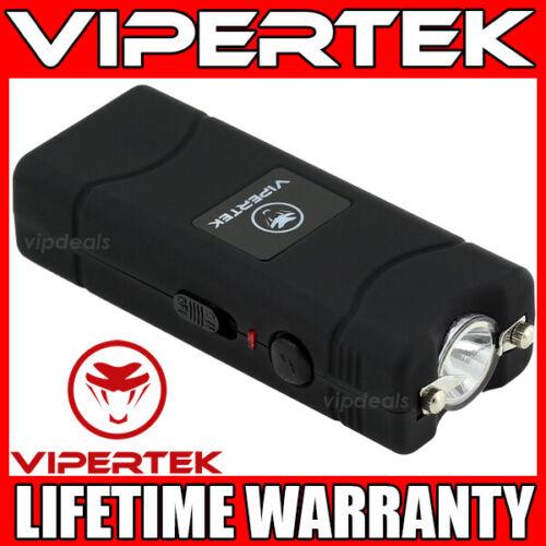 VIPERTEK Stun Gun Micro Mini BLACK VTS-881 390 BV Rechargeable LED Flashlight