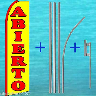 Abierto Open Swooper Flag 15 Tall Pole Mount Kit Feather Flutter Banner