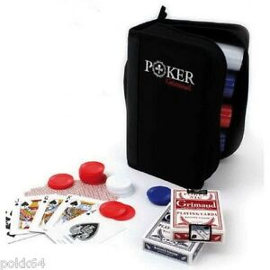 Portfolio Poker travel GRIMAUD 300 tokens + 2 games card travel set 3902
