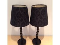 Black table lamps or bed side lamps with patterned faux suede shade. Half price !!