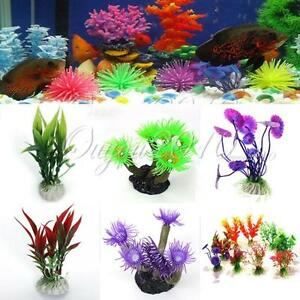 plastique fausse plante fleur herbe artificielle decor aquarium tank poisson new ebay. Black Bedroom Furniture Sets. Home Design Ideas
