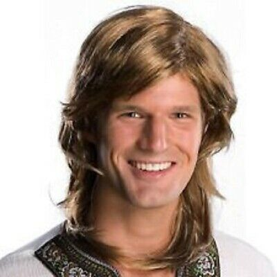 Mens Adult 70s 80s Guy Deluxe Brown Hippie Costume Wig - Hippie Halloween Costumes Guy