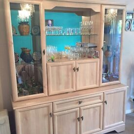 2 piece glass unit cupboards and drawers