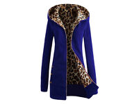 Sexy Hooded Inside Leopard Printed Thick Hoodie For Women - Blue - Size 6 - NEW