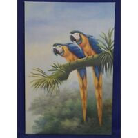 Pair of Macaw Parrots Original Painting on Canvas 24 x 36 in.