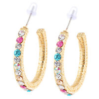Stylish 18k Yellow Gold Plated Multicolor Crystal Hoop Earrings