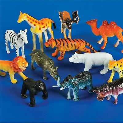 24 PLASTIC ZOO ANIMALS LION, ZEBRA, ELEPHANT, TIGER, ETC GOODY BAGS, CARNIVAL