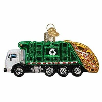 Old World Christmas 46091 Glass Blown Garbage Truck Ornament