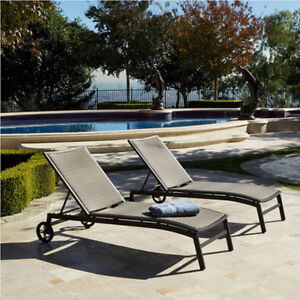 Retail $1,083+ Costco Set of 2 ZEN Chaise Lounger Patio, NEW