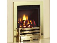 "Legend Vantage Gas Fire. 18"" Brand new in the box. Brass colour. Includes manual and coals."