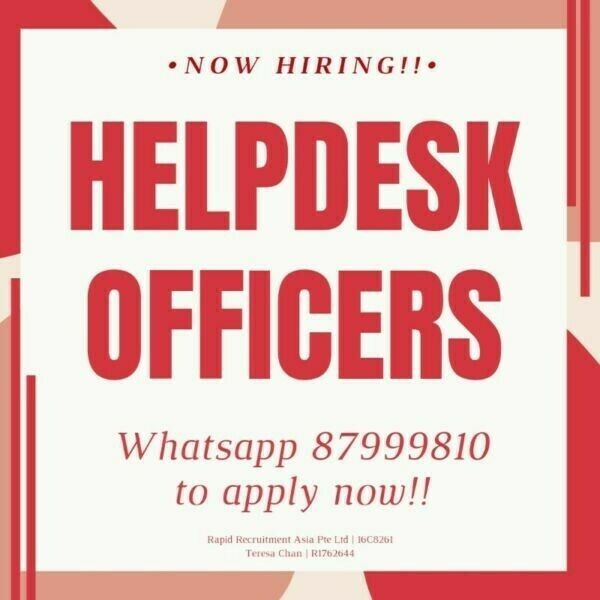 10 x Helpdesk Officers @ Pioneer/Kallang ($9/hr, Gov Projects! Training Provided!)