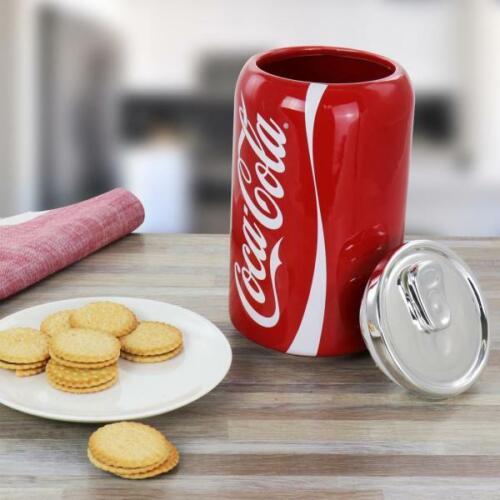 Coke Can Ceramic Cookie Snack Jar Rubber Airtight Seal Genuine Coca-Cola Red NEW