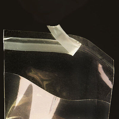 100 CLEAR SELF ADHESIVE RESEALABLE CELLO POLYPROPYLENE MULTI-SIZED BAGS 1.2 MIL  (Clear Adhesive)
