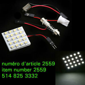 1210 SMD 20 LED Car Interior Light Panel T10 Dome BA9s Adapter W