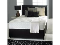 Divan Fabric Bed with Luxury Hand-Tufted Damask Mattress