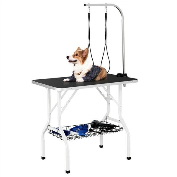 """New Black 36"""" Non-Slip Adjustable Pet Arm Foldable Grooming Table for Dogs"""