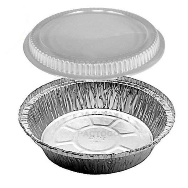 "7"" Round Aluminum Foil Take-Out Pan with Clear Plastic Dome Lids 100 Sets"