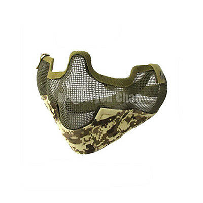 Tactical Airsoft Steel Wire Mesh Half Face Protective Mask w Ears Cover