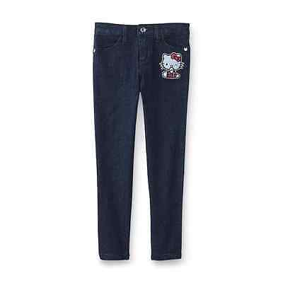 New Hello Kitty Girl's Embroidered Skinny Jeans Size 4-5-6