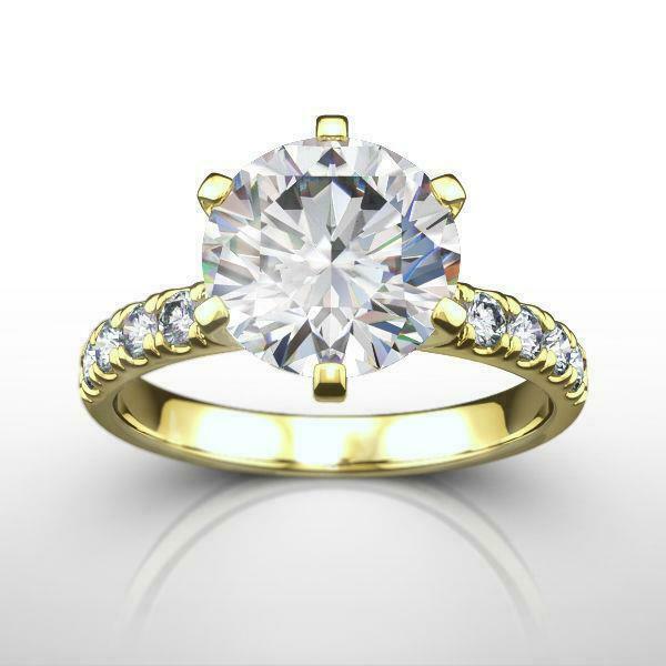 Diamond Round Ring Vs Certified 2 Carat Estate Side Stones 18 Karat Yellow Gold