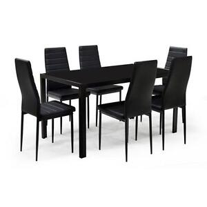 Glass Dining Table w/6 Chairs - Contra White or Black