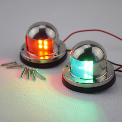 A Pair Of Bow Navigation Light For Boats -Stainless Housing Red and Green Superb