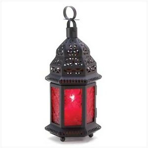 SET-2-RED-Moroccan-Candle-Lanterns-Glass-Metal-Tealight-Holders-Decoration