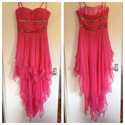 BNOWT Ladies La Femme Hot Pink Short Floaty Chiffon Bridesmaid /Prom Dress-UK 10 for sale  Shipping to Ireland