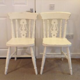 Pair of Shabby Chic Painted Wooden Kitchen Dining Chairs